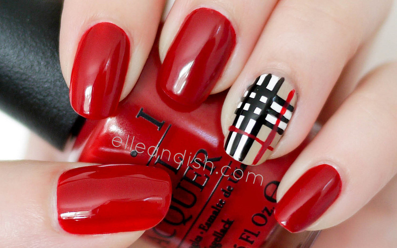 Burberry Inspired Nails nail art by elleandish