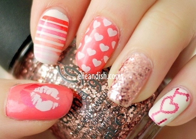 Valentine's Day Nails (Konad Stamping) nail art by elleandish