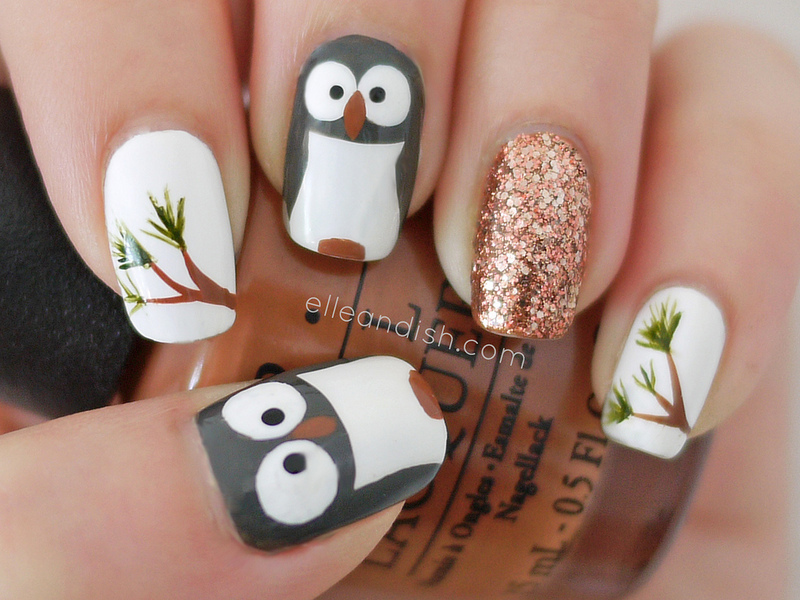 Owl Nails nail art by elleandish
