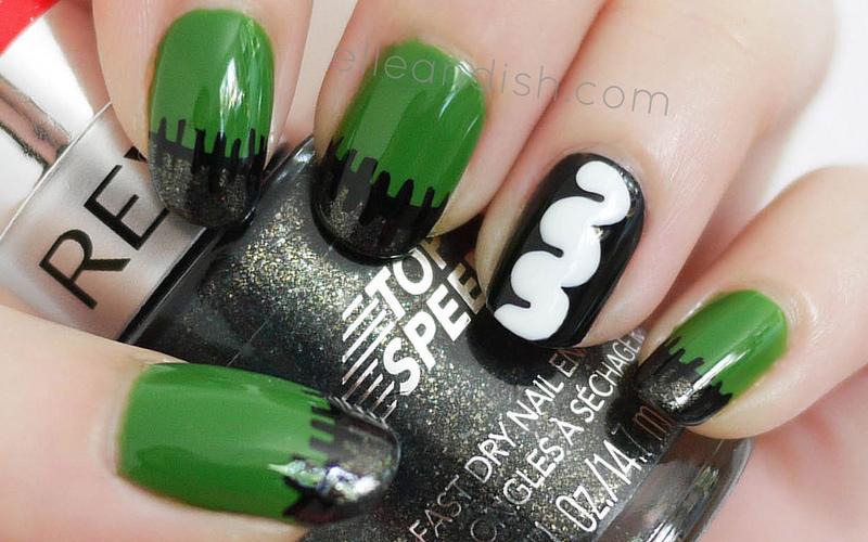 Frankenstein Nails nail art by elleandish