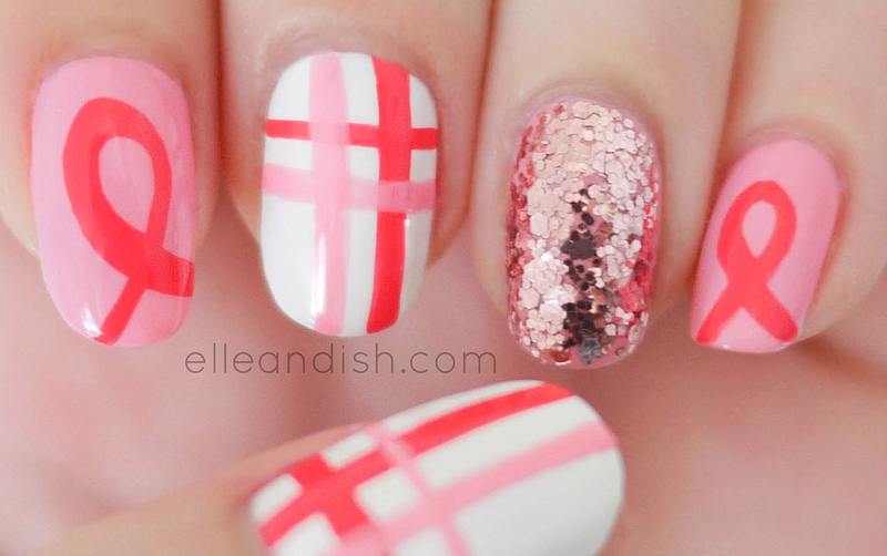 Breast Cancer Awareness Ribbon Nails nail art by elleandish