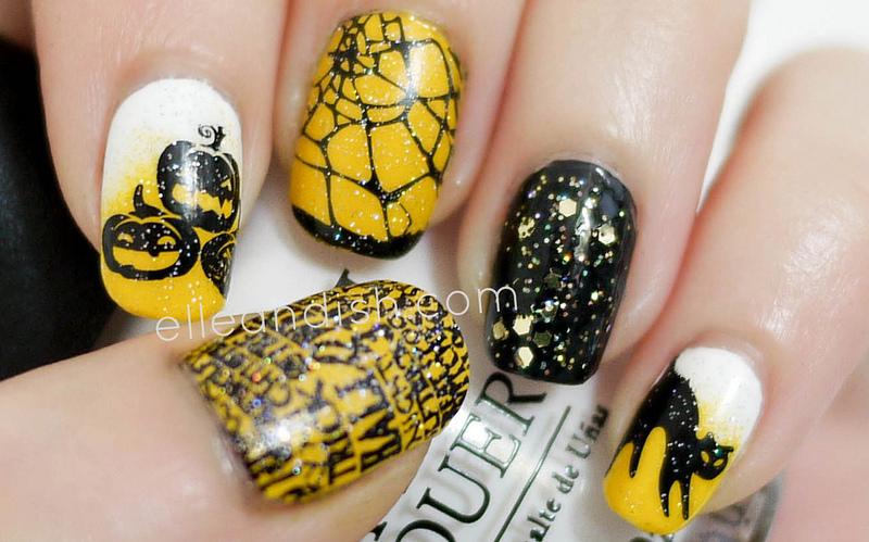Halloween Nails (Konad Stamping & Sponge Gradient) nail art by elleandish