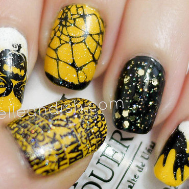 Halloween Nails (Konad Stamping & Sponge Gradient) nail art by elleandish