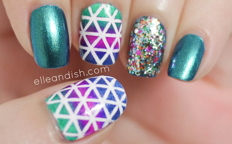 Geometric Nails (striping tape) nail art by elleandish