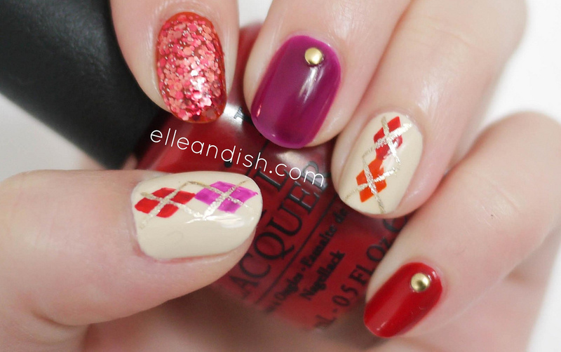 Argyle Nails nail art by elleandish