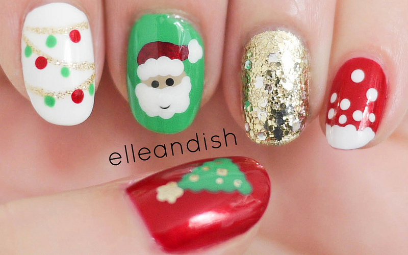 Christmas Nails Freehand Nail Art By Elleandish Nailpolis