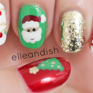Christmas Nails (Freehand) nail art by elleandish