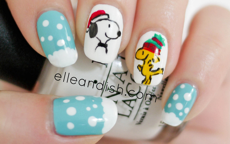 Snoopy & Woodstock Peanuts Nails nail art by elleandish