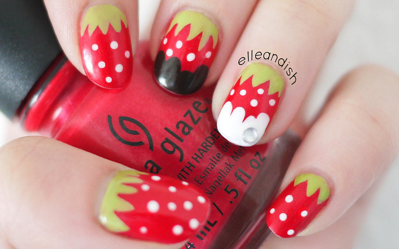 Strawberry Chocolate Nails nail art by elleandish
