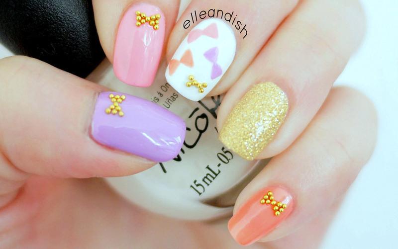 Bow Nails nail art by elleandish