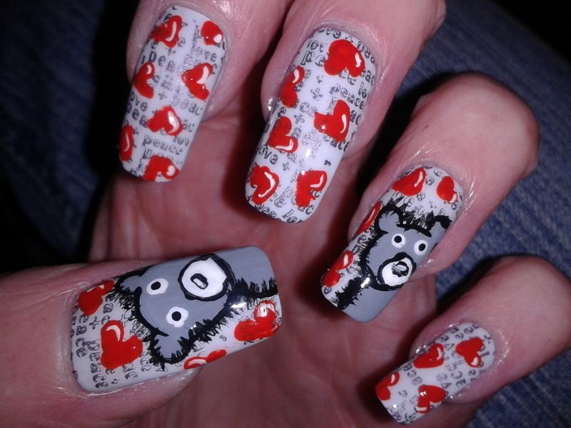 Hearts and Teddies nail art by Tracey - Bite no more