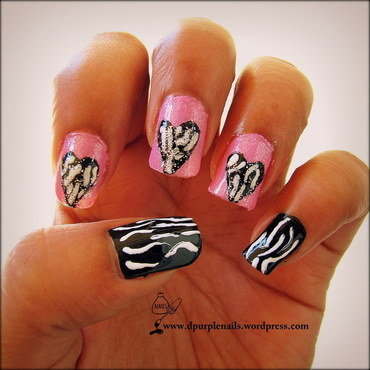 Zebra heart nails nail art by Deepika