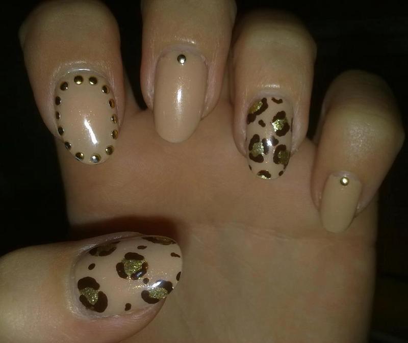 Leopard & Studs nail art by Lara