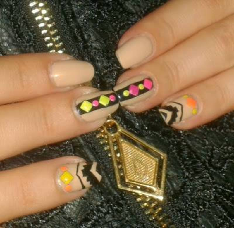 Neon Aztec nail art by Lara