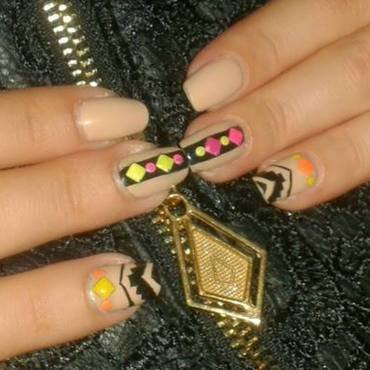 Neon Aztec nail art by Lara