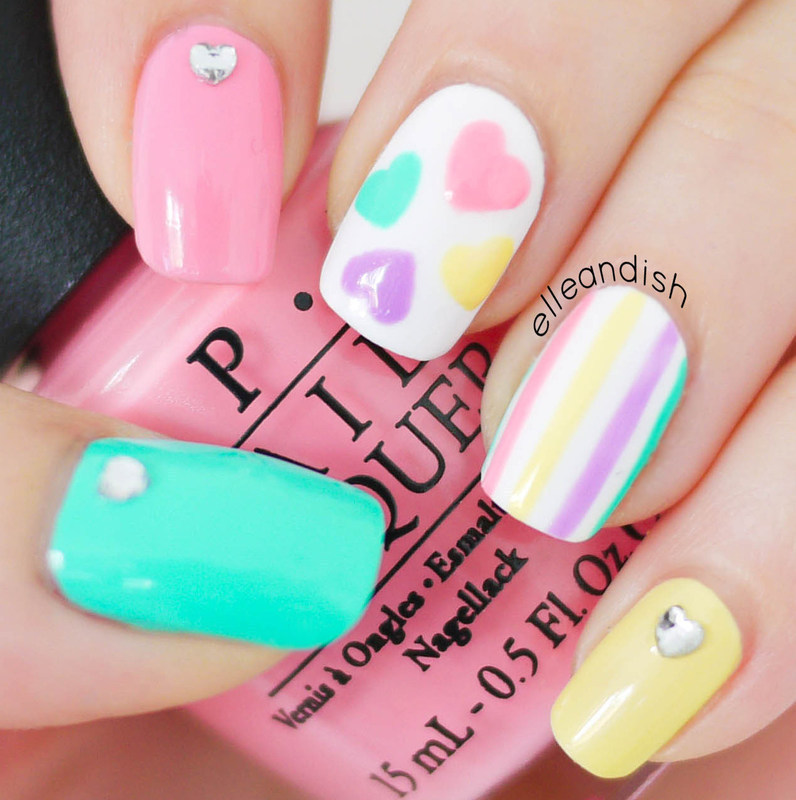 Valentine's Day Nails (Freehand) Pastel Hearts nail art by elleandish