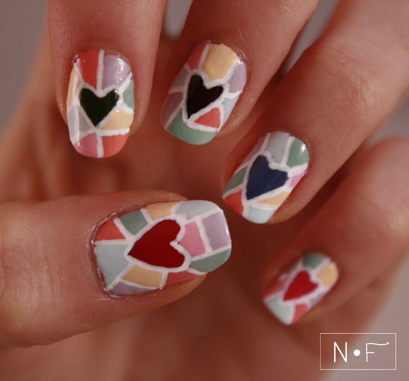 Hearts mosaic nail art by NerdyFleurty