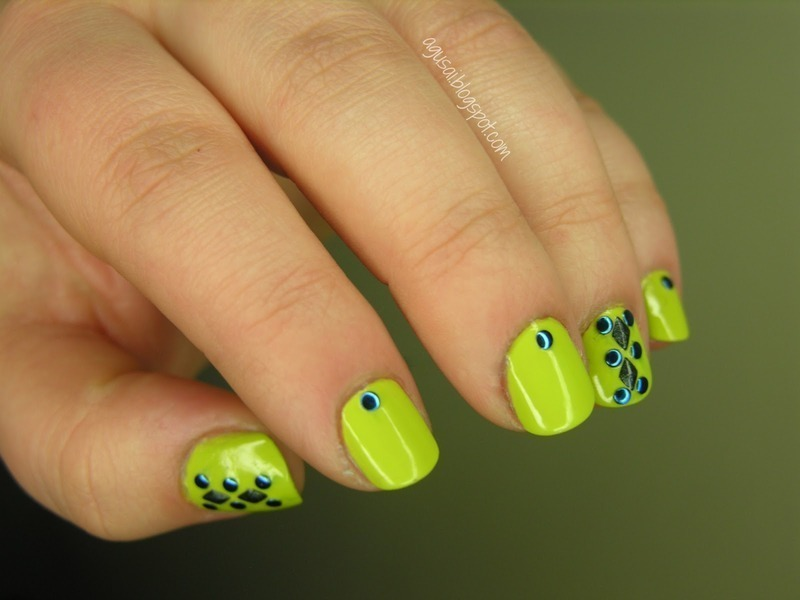 Studded love nail art by Agni