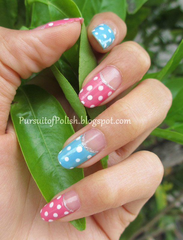 Pastel Polka Dot French Mani nail art by Wanya Chu