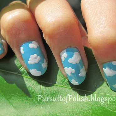 Fluffy Clouds Nails nail art by Wanya Chu