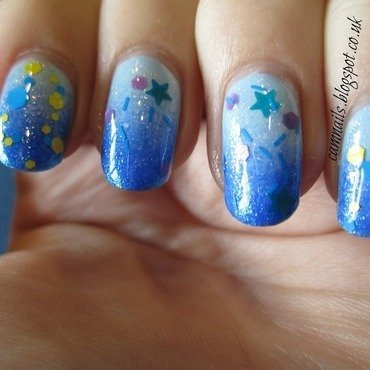 Gradient with Glitter Toppers nail art by Emma