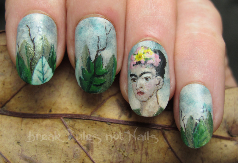 Frida Kahlo portrait nail art by Michelle