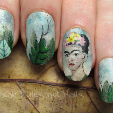 Frida Kahlo portrait nail art by Michelle