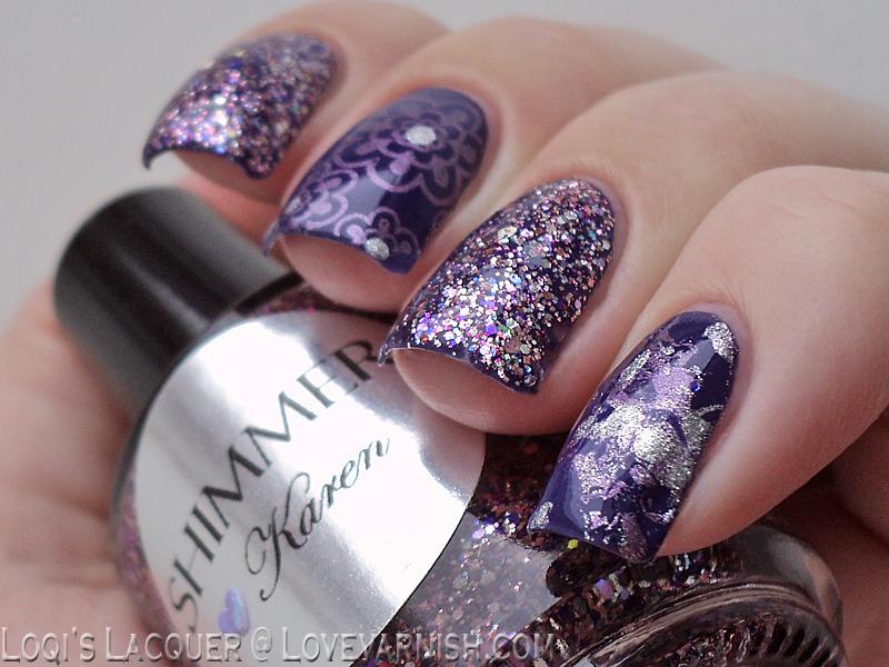 Glitter skittlette nail art by Loqi