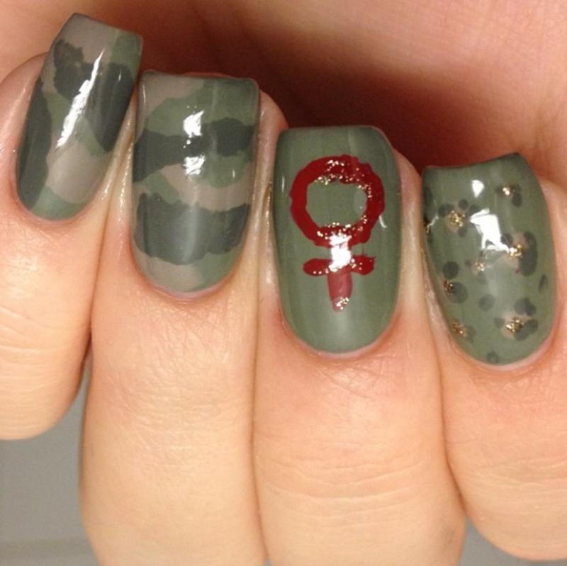 feminist warrior nail art by feline