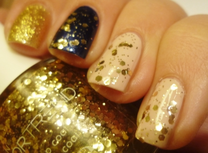 Gold, blue and nude nail art by Romana