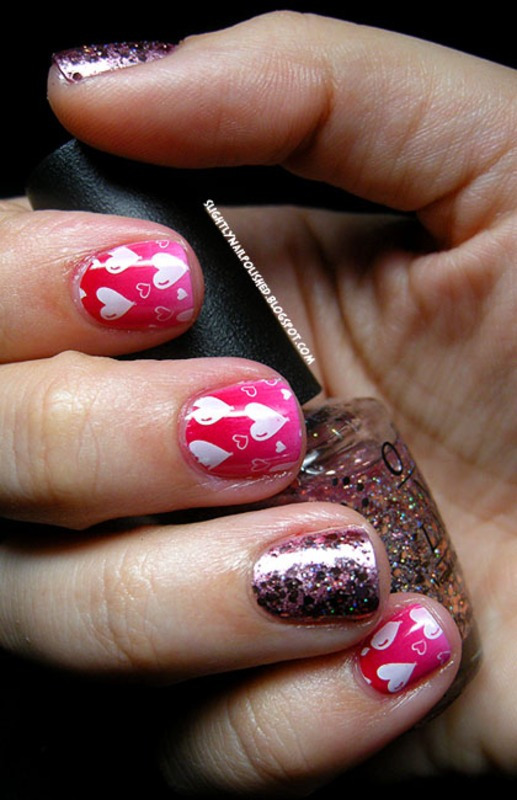 Valentine's Day: Glitter, Gradient and Stamping, oh my!  nail art by Samantha Rae