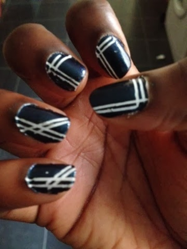 First time with striping tape nail art by August Art