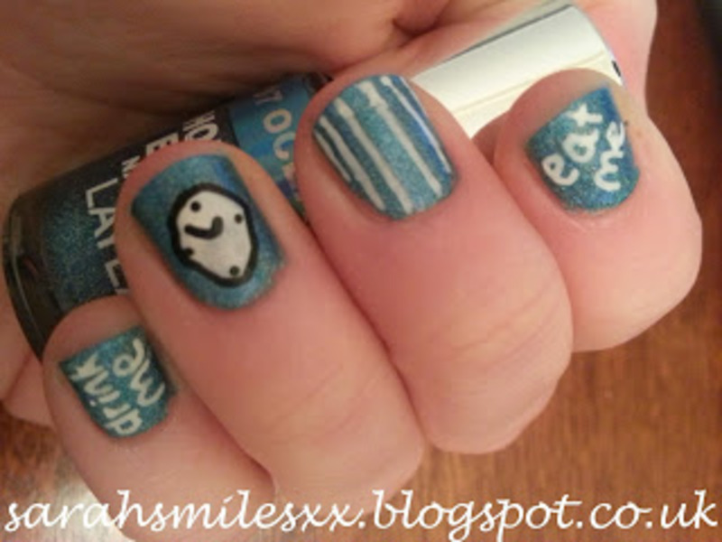 I'm Late, I'm Late, For a Very Important Date nail art by Sarah Clarke