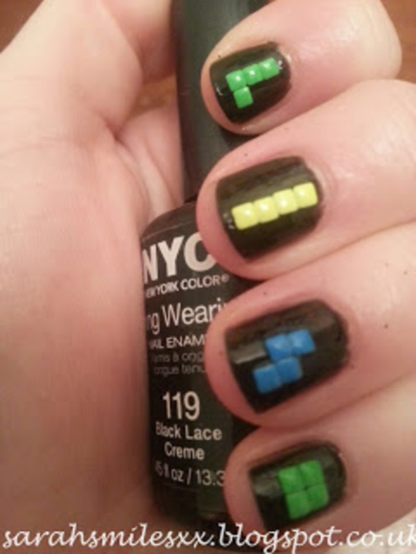 Lets Play Some Tetris nail art by Sarah Clarke