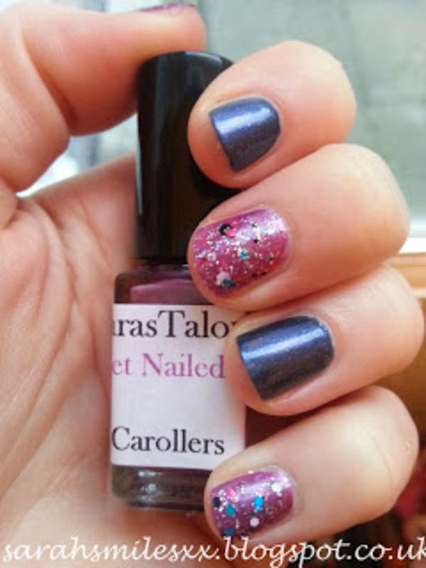 Christmas Sparkle nail art by Sarah Clarke