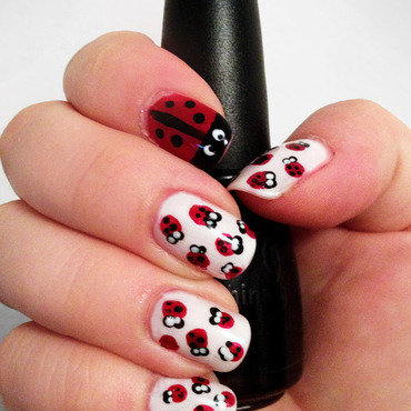 Ladybugs nail art by Katie