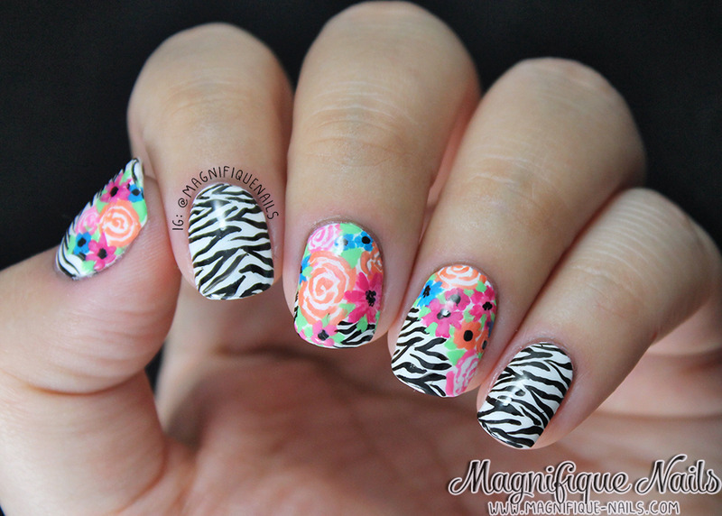 Zebra and Floral Nails nail art by Ana