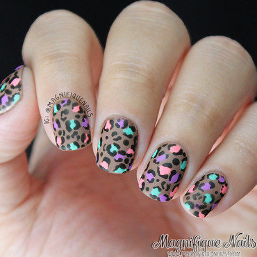 Colorful Matted Leopard Print Nails nail art by Ana