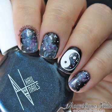Galaxy Yin Yang Nails nail art by Ana