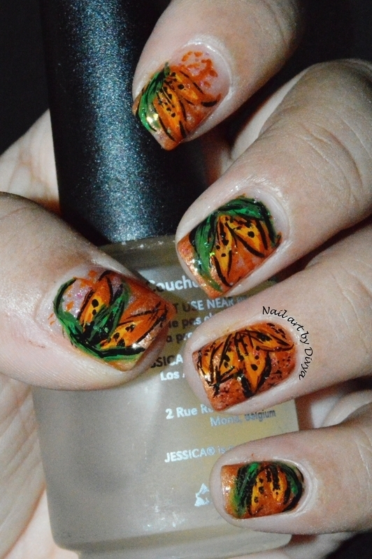Tiger Lily Nail art nail art by Divya Pandey