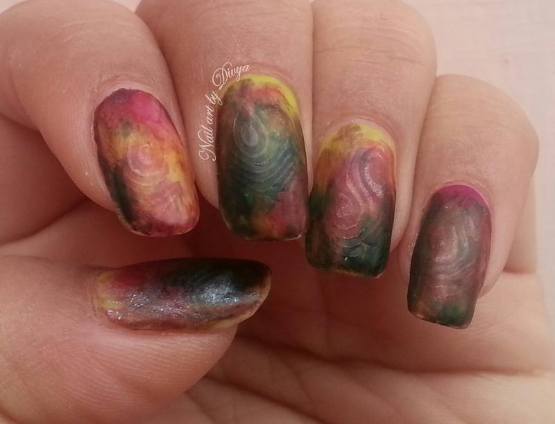 Nail art over matte base nail art by Divya Pandey