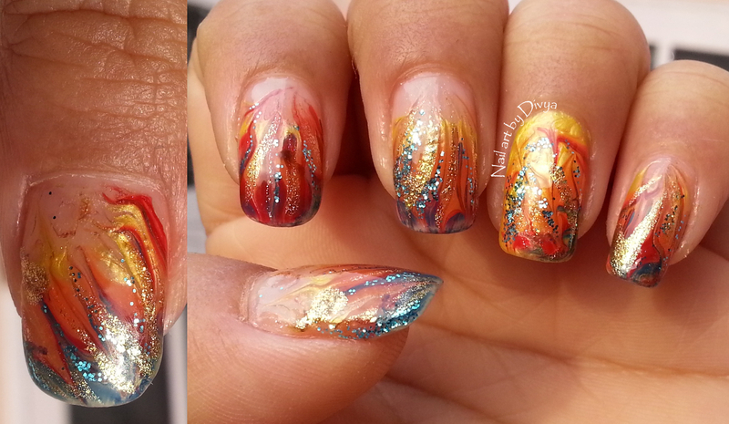Fiery!!! nail art by Divya Pandey