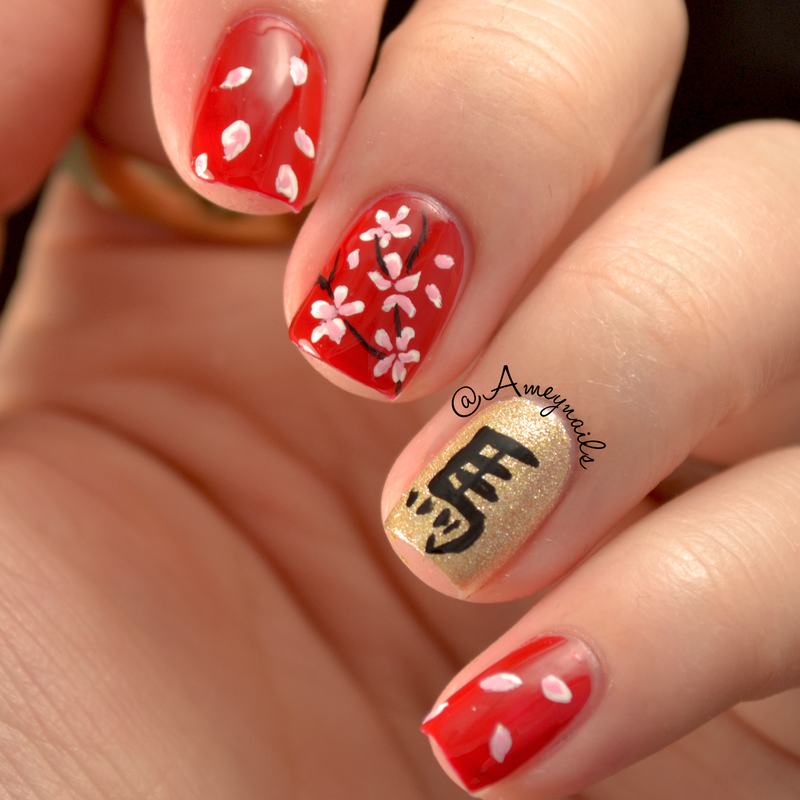 Horse Lunar New year nail art by Amey