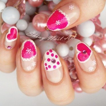 Cute Pink Hearts nail art by Shiny