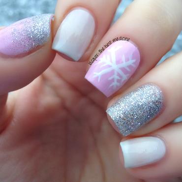 Delicate Pink Snowflake nail art by Ariel