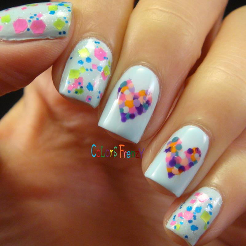Dotted Hearts nail art by Novi