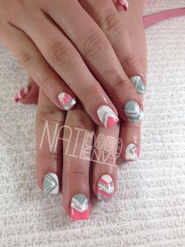 Pastel Aztec nail art by Rachel