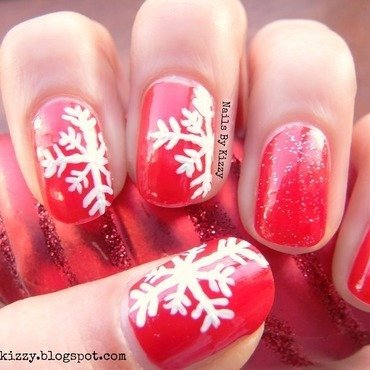 Christmas Snowflakes nail art by Kizzy