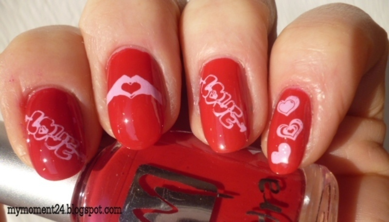Valentine day nail art by T. Andi