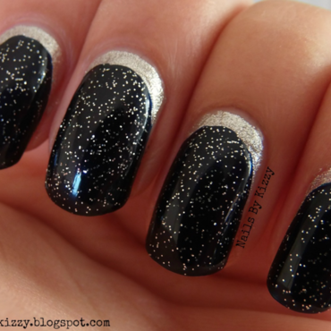 Glittery Crescent Moon Nails! nail art by Kizzy